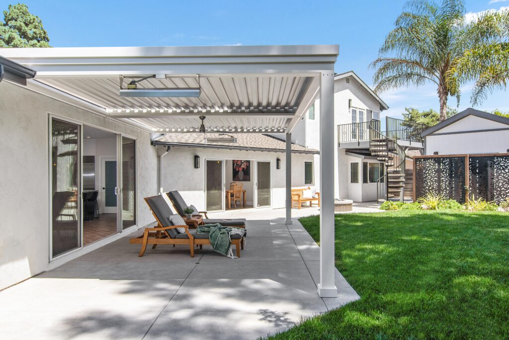 backyard with white louvered roof