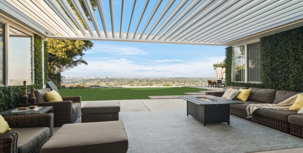 beautiful view from underneath a louvered awning