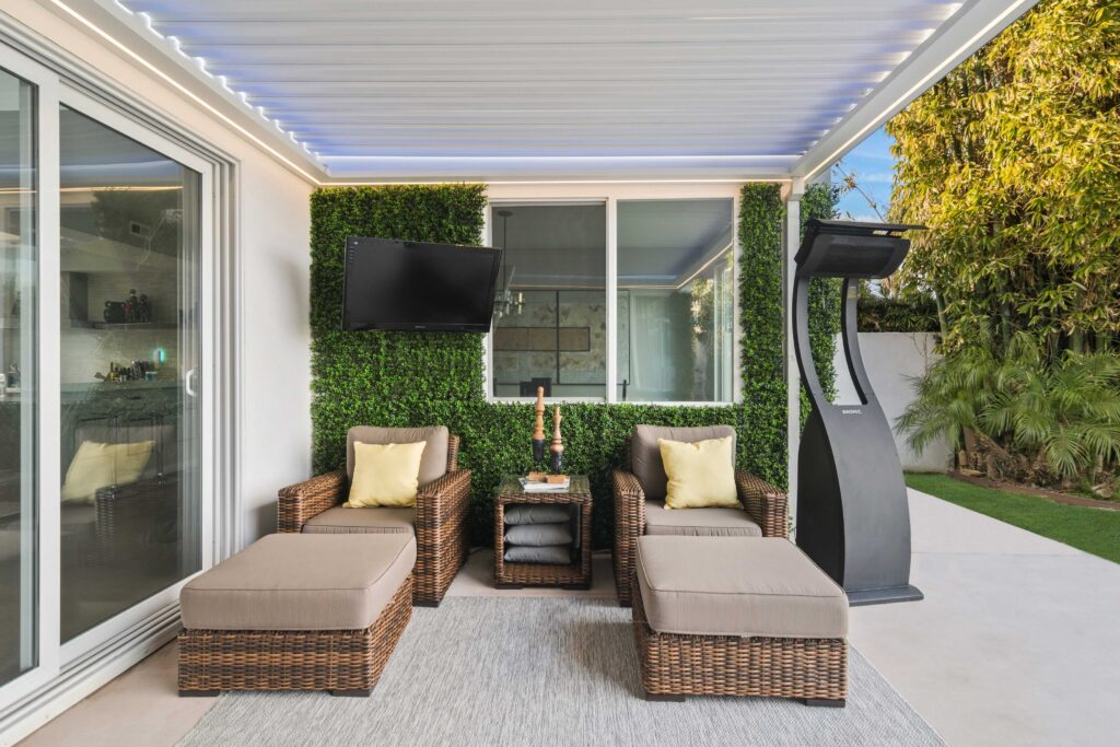 two chaise lounges on the patio